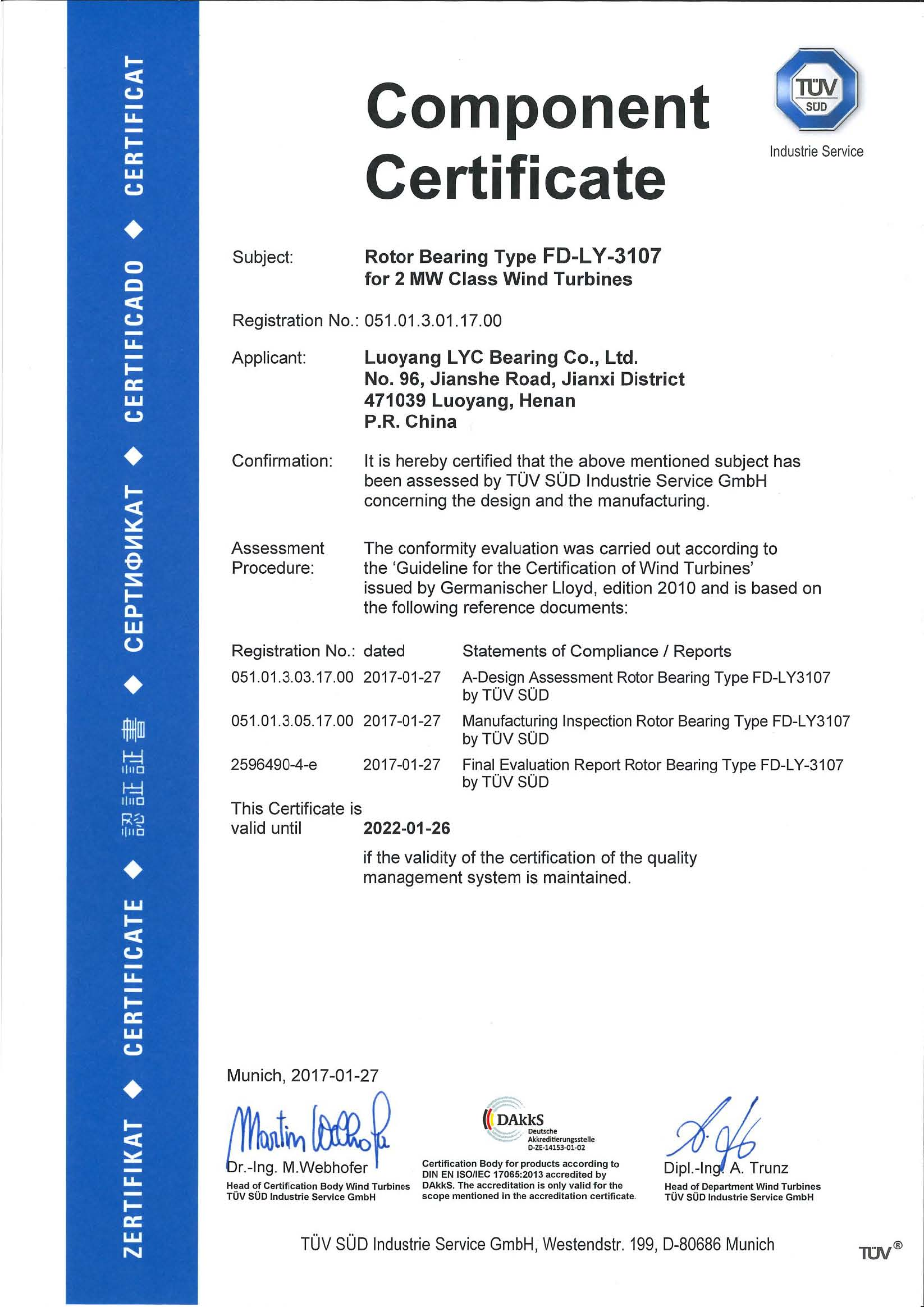 Luoyang LYC Bearing Corp. passed GL Wind power product certification